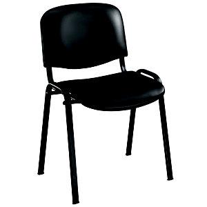 Chaise visiteur First - Vinyle - Noir