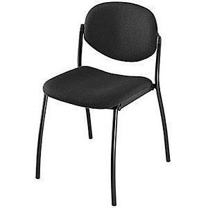 Chaise visiteur Lexia - Tissu - Noir - Pieds Métal noir