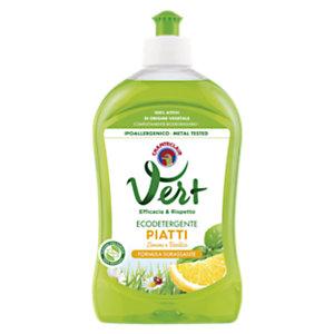 CHANTECLAIR Ecodetergente Liquido Piatti Linea Vert, Profumo Limone e Basilico, Flacone 500 ml