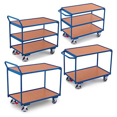 Chariot à étages à plateaux bois et frein central##Etagewagen met centrale voetrem en houten legborden
