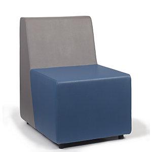 Chauffeuse d'accueil FLYN, Module 1 place PVC Bleu/Gris