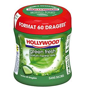 Chewing gum Hollywood Green Fresh, 60 dragées, sans sucres