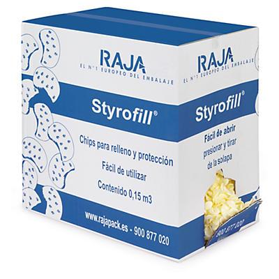 Chips de relleno Styrofill en caja distribuidora