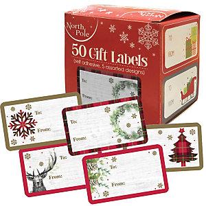 Chiudipacco Natale adesivi, 4 x 6 cm, Soggetti assortiti (confezione 50 pezzi)