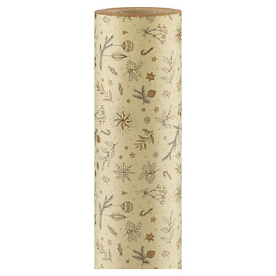 Christmas Holly grass fibre Kraft gift wrapping paper