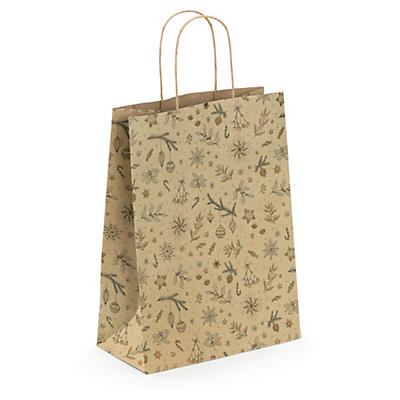 Christmas Holly grass fibre Kraft paper gift bags