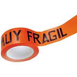 Cinta de Embalar PVC Estándar Resalta la fragilidad del contenido, MUY FRÁGIL, 55 mm x 66 m, Naranja