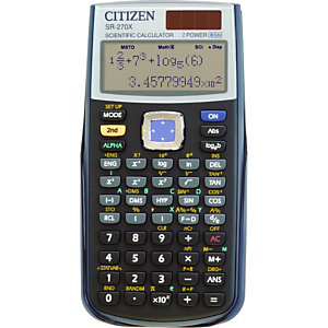CITIZEN Calcolatrice scientifica SR270X, Display naturale ad alta risoluzione, Nero