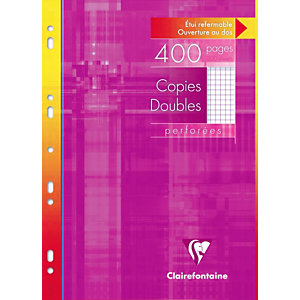Clairefontaine 400 pages de copies doubles 5x5 A4 (210 x 297 mm) Blanc 90g/m²