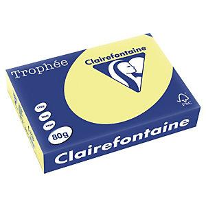 CLAIREFONTAINE 5 RAM Trophée, Papier Couleur pour Jet d'encre et Laser, 500 feuilles, A4, 80 g, jonquille