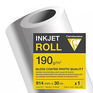 CLAIREFONTAINE Bobine de papier couché brillant pour traceur jet d'encre 2613C - Format 30 m x 914 mm, 190 g/m² - Blanc