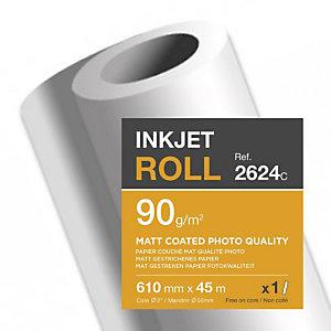 CLAIREFONTAINE Bobine de papier couché mat photo pour traceur jet d'encre 2624SC - Format 45 m x 610 mm, 90 g/m² - Blanc