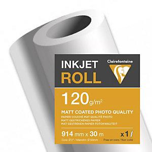 CLAIREFONTAINE Bobine de papier couché mat pour traceur jet d'encre 2608C - Format 30 m x 914 mm, 120 g/m² - Blanc