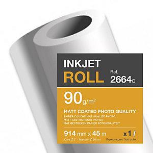 CLAIREFONTAINE Bobine de papier couché mat pour traceur jet d'encre 2664SC - Format 45 m x 914 mm, 90 g/m² - Blanc
