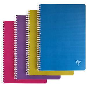 Clairefontaine Cahier spirales LINICOLOR A4 (21 x 29,7 cm) 180 pages 90g petits carreaux 5x5 - Coloris Intense