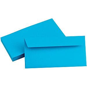 Clairefontaine Enveloppe couleur Pollen DL 110 x 220 mm Sans fenêtre 120 g/m² bande auto-adhésive -  Bleu turquoise