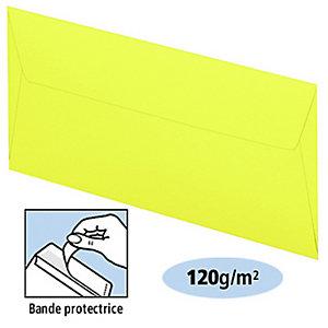 Clairefontaine Enveloppe couleur Pollen DL 110 x 220 mm Sans fenêtre 120 g/m² bande auto-adhésive - Jaune soleil