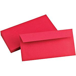 Clairefontaine Enveloppe couleur Pollen DL 110 x 220 mm Sans fenêtre 120 g/m² bande auto-adhésive -  Rouge  cerise