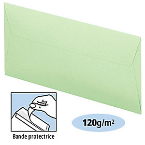 Clairefontaine Enveloppe couleur Pollen DL 110 x 220 mm Sans fenêtre 120 g/m² bande auto-adhésive - Vert pastel