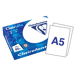 Clairefontaine Papier A5 blanc 80g Clairalfa - Ramette de 500 feuilles