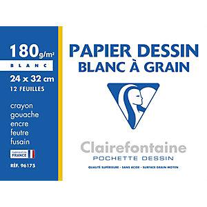 Clairefontaine Papier dessin à grain 24 x 32 cm 180 g  - Pochette 12 feuilles blanches