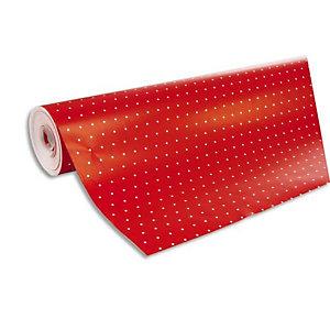 CLAIREFONTAINE Rouleau de papier cadeau ALLIANCE 80g. Spécial commercant : 50x0,7m. Rouge pois Blanc
