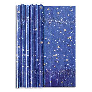 CLAIREFONTAINE Rouleau papier cadeau CIEL ETOILE 60g. Dimensions 1,5 x 0,70m. Coloris Bleu métal