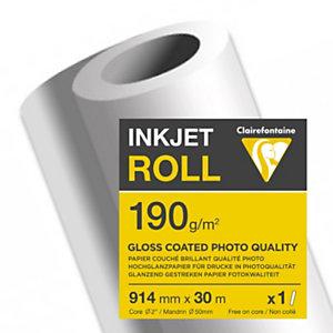 Clairefontaine Rouleau de papier couché blanc brillant 2613C pour traceur jet d'encre - Format 0,914 x 30m - 190g