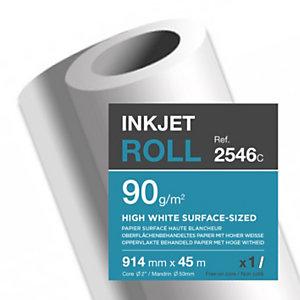 Clairefontaine Rouleau de papier surfacé ultra blanc 2546C pour traceur jet d'encre - Format 0,914 x 45m - 90g