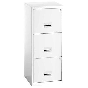Classeur Métal  Pratic, 3 tiroirs pour dossiers suspendus - Blanc