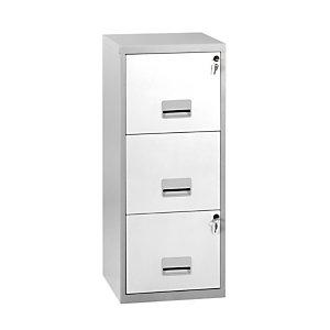 Classeur Pratic 3 tiroirs en Métal - Corps Aluminium - Façades Blanc