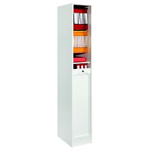 Classeur à rideaux bois H. 170 x L. 41 x P. 44 cm - Blanc