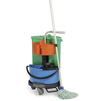 Cleaning carousel with mopping pail and tool caddy