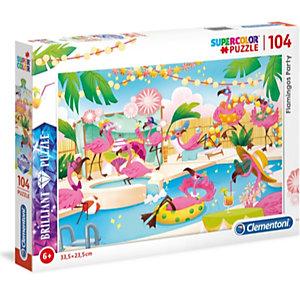 Clementoni, Puzzle, 104- flamingos, 20151B