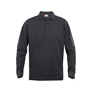 CLIQUE Polo ML Homme Anthracite Chiné 4XL