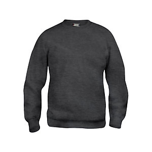 CLIQUE Sweat basic col rd Anthracite Chiné 3XL