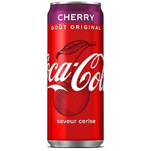 COCA-COLA 24 bouteilles Cherry, saveur cerise, canette de 33 cl