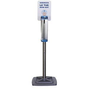 Colonna con dispenser a gomito per gel igienizzante mani e cartello ''Igienizza le tue mani qui'', Acciaio inox