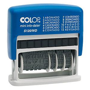Colop Mini Info Dater S120/WD, Fechador multifórmula automático azul y rojo, 12 ajustes, azul
