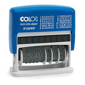 Colop Mini Info Dater S120/WD, Timbro autoinchiostrante polinomio con datario, Bicolore, Colore blu