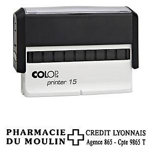Colop Tampon encreur personnalisable Printer 15 - Noir - 3 lignes