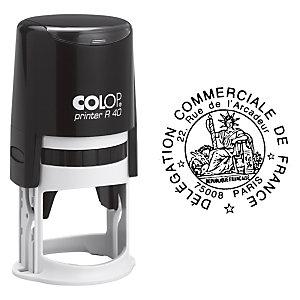 Colop Tampon encreur rond personnalisable Printer R40 - Noir - 7 lignes