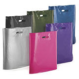 Coloured gloss plastic carrier bags