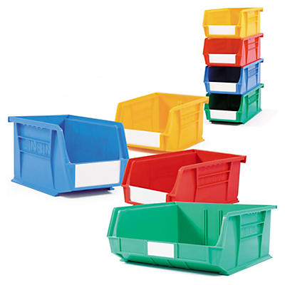 Coloured louvred plastic storage bins