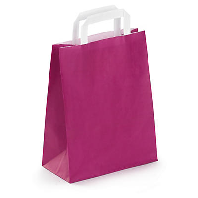 Coloured paper carrier bags with flat handles