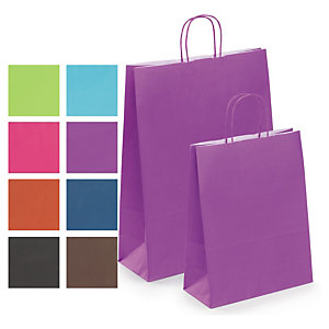 002f0e111 Coloured ribbed Kraft paper carrier bags with twisted handles