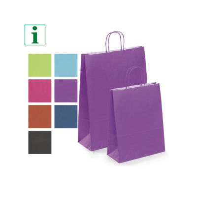 Coloured ribbed Kraft paper carrier bags with twisted handles