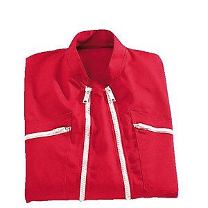 Combinaison de travail rouge double fermeture, polycoton, taille XL