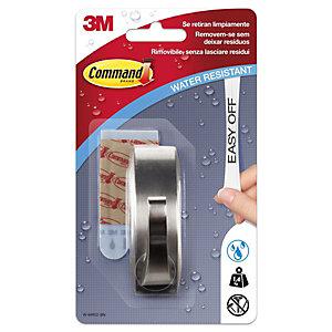 Command™ Gancho de metal con tiras resistentes al agua, Modern Reflection, 1,4kg, níquel cepillado, 1 gancho, 2 tiras medianas