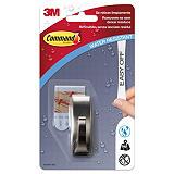 Command™ Gancho de metal con tiras resistentes al agua, níquel cepillado Modern Reflection, 1 gancho, 2 tiras pequeñas, 500g